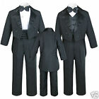 Внешний вид - New 5pc Baby Kid Teen Boy Wedding Formal Tuxedo Vest Cummerbund Suit Black S-20