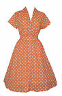 1940s WW2 Retro Vintage Style Peach Polka Dot Belted A-Line Shirt Dress NEW 8-20