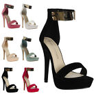 New Ladies Womens Peep Toe Gold Ankle Cuff Stiletto Heel Sandals Shoes Size 3-8