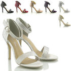 LADIES BRIDAL STILETTO SANDALS DIAMANTE ANKLE STRAP LADIES HIGH HEEL PROM SHOES