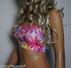 SIZE 10 PEACE HIPPY LYCRA STRAPLESS BOOB TUBE BANDEAU CROP TOP CLUB PARTY W346