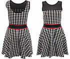 Womens Ladies Jessi Wright Dog Tooth Mesh Insert Low Back Flared Skater Dress