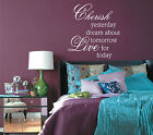 Vinyl Wall Art Cherish yesterday Live for Today sticker Decal Interior Design