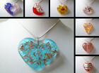 "MURANO GLASS MULTI LARGE HEART PENDANT with Silver Necklace 18"" 925"