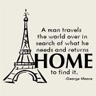 A MAN TRAVELS WORLD PARIS Wall Decal Wall Sticker Home and L