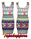 LADIES CELEBRITY STYLE ABSTRACT ZIG ZAG PRINT WOMENS BODYCON SHORT MINI DRESS
