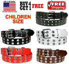 Внешний вид - KIDS CHILDREN BOYS GIRLS 2 HOLES ROW GROMMETS Bonded Leather Belt Silver Buckle