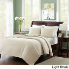 BEAUTIFUL SOFT CLASSIC TAN BEIGE WHITE ELEGANT TEXTURED SOFT QUILT SET NEW!! image