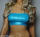 Boob Tube Blue Shiny Holo Lycra Strapless BANDEAU Top Club Party Dance Sexy W370
