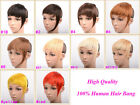 Clip in HQ Extension 100%Real Remy Human Hair Extensions Fringe/Bangs Mix Colors