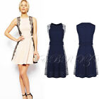 New Womens Floral Panelled Lace Skater Chiffon Ladies Evening Party Summer Dress