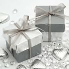 Silver Pelle & Silver Silk Square Boxes & Lid Luxury Wedding Favour Party Boxes