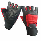Padded Leather Gloves Weight Training Fitness Body Building Long Straps Red -202