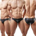Hot Selling Brand Men's Black Leather Like Sexy Briefs Underwear Size M L XL C34
