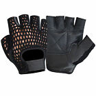 MESH LEATHER PADDED WEIGHT LIFTING GYM GLOVES FITNESS CYCLING SPORTS - 405