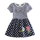 New Peppa Pig Clothes 2Y-6Y Kids Girls Polka Dots Striped Dress Short Sleeve