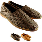 Mens Feud Britannia Lyndon Flat Slip On Smart Leather Weave Summer Shoes UK 7-12
