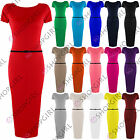 WOMENS LADIES SHORT CAP SLEEVE BELTED JERSEY STRETCH MAXI MIDI BODYCON DRESS TOP