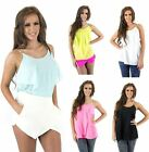 Womens New Chiffon Layered Cami Top with Chain Pearl Straps Vest