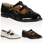 Ladies Strappy Womens Cut Out T-Bar School Office Flat Pumps Geek Shoes Size 3-8