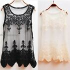 Ladies' Sheer Mesh & Lace Scoop Neck Spade Cordon Sleeveless Cover Up Top UP47