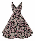 NEW 40's 50's VINTAGE STYLE DAISY FLORAL PROM COCKTAIL TEA DRESS 10 - 20