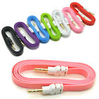 1pc Colorful 3.5mm Stereo Auxiliary Cable Male to Male Flat Audio Music Aux Cord