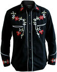 Mens Line Dancing Cowboy Western Rockabilly Embroidered Floral Shirt All Sizes