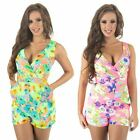 Womens New Neon Tropical Floral Printed Wrap Around Deep Plunge Neck Playsuit