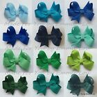 Baby/Girls Handmade Small 2 inch Butterfly Hair Bow Clip bobble BLUES, GREENS