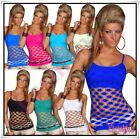 Sexy Ladies Strappy Fishnet Top Women's Summer Casual Top One Size 6,8,10,12 UK
