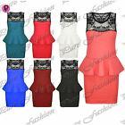 Womens Ladies Back Lace Insert Sleeveless Peplum Pencil Frill Bodycon Mini Dress