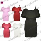 Womens Ladies Celeb Cami Strappy Off Shoulder Ruffle Frill Bodycon Mini Dress
