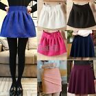 Womens Candy Color Stretch Waist Plain Skater Flared Pleated Mini Skirt Fashion