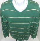 BANANA REPUBLIC Men's Green Striped Vee Neck Sweater Sizes S-XL