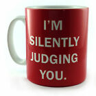 NEW I'M SILENTLY JUDGING YOU GIFT CUP MUG PRESENT FUNNY QUOTE SECRET SANTA IDEA