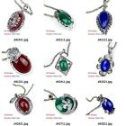 d420m45 Women Flower Tibet Silver Czech Gemstone Bead Pendant Necklace Jewelry