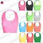 Womens Ladies Celebrity Plunge Stretchy Halter Neck Summer Sleeveless Crop Top