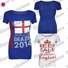 Womens Keep Calm Support England World Cup Brazil 2014 Ladies Vest T Shirt Top