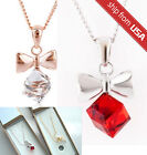 White Gold Plate silver Zircon Crystal cubic bow Necklace Korean Pendant jewelry