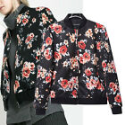 Women Vintage Floral Printed Biker Motorcycle Baseball Zipper Bomber Jacket Coat