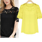Women Candy Color Tops Lace Hollow Fitted Chiffon Shirt Casual Tee Career Blouse