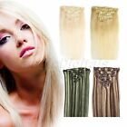 Woman Clip In Real Remy Human Hair Extensions 70g 7PCs Full Head 15-22 Inch