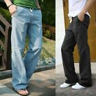 NEW Men's Trousers Linen Pants Long Loose Bucket Big Straight Casual Pants UK