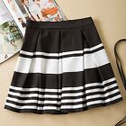 Women's Vogue Summer Black & White A-Line Dress Stripe Pleated Short Mini Skirt
