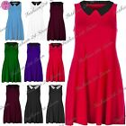 New Womens Ladies Summer Contrast Sleeveless Stretchy Collar Flared Swing Dress