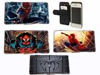 Spiderman Leather Wallet flip Phone case for Iphone 4 4s,5 5s,5c,6,Samsung S3 S4