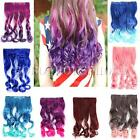 Curly Wavy Long Gradual Change Rainbow Color Clip in on Wip Hair Extension Party