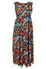 New Ladies Red Blue Print Maxi Dress Plus Sizes 16 - 26