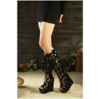 WOMENS SHOES BOOTS NEW STYLE WORK LACE UP PLATFORM PEEP TOE WEDGE HEEL SEXY